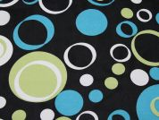Spotty Print Polyester Georgette Dress Fabric  Black, Turquoise & Lime