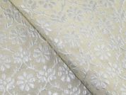 Floral Woven Pearlescent Brocade Dress Fabric  Ivory & Cream