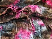 Lace Applique Crinkle Tie Dye Satin Dress Fabric  Pink & Brown