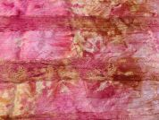 Lace Applique Crinkle Tie Dye Satin Dress Fabric  Pink