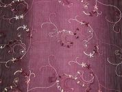 Embroidered Floral Crinkle Chiffon Dress Fabric  Plum