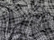 Plaid Check Print Rayon Challis Dress Fabric  Black & White