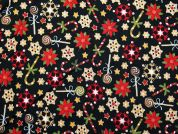 Christmas Candy Cane Print Cotton Fabric  Black