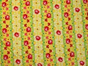 Rose Stripe Print Cotton Dress Fabric  Yellow