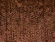 Embroidered Creased Satin Dress Fabric  Brown