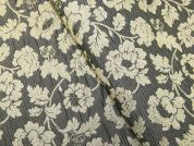 Floral Woven Metallic Brocade Dress Fabric  Grey & Light Gold