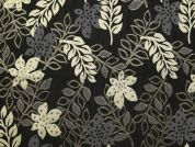 Leaves Woven Metallic Brocade Dress Fabric  Black & Gold