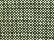 Metallic Christmas Check Print Cotton Fabric  Green & Ivory