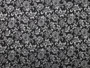 Floral Woven Metallic Brocade Dress Fabric  Black & Silver