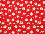 Floral Print Cotton Dress Fabric  Red