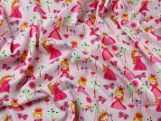 Pretty Princess Print Cotton Poplin Fabric  Pink
