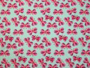 Busy Butterfly Print Cotton Dress Fabric  Pink & Mint Green
