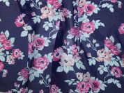Printed Chiffon Fabric  Pink & Navy