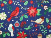 Metallic Christmas Birds Print Cotton Fabric  Royal Blue