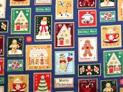 Metallic Christmas Stamps Print Cotton Fabric  Royal Blue
