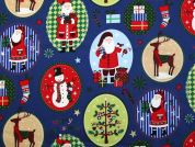 Metallic Christmas Ovals Print Cotton Fabric  Royal Blue