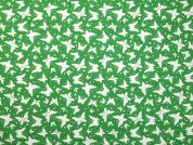 Fluttering Butterfly Print Cotton Dress Fabric  Emerald Green