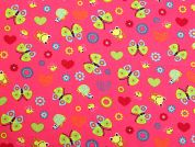 Butterflies & Frogs Print Cotton Dress Fabric  Pink