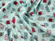 Sewing Bobbins Print Cotton Poplin Fabric  Aqua