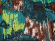 Abstract Print Polyester Chiffon Dress Fabric  Teal