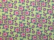 Floral Cotton Fabric  Pink & Green
