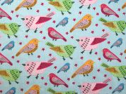 Sweet Birds Print Cotton Dress Fabric  Sky Blue