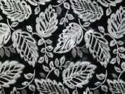 Leaf Woven Metallic Brocade Dress Fabric  Black & Silver