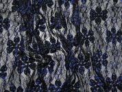 Floral Print Stretch Lace Dress Fabric  Black & Blue