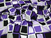 Geometric Squares Print Stretch Jersey Dress Fabric  Purple