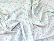 Floral Crepe Fabric  Turquoise on Cream