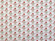 Floral Cotton Fabric  Red & White