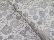 Floral Woven Metallic Brocade Dress Fabric  Beige & Silver