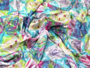 Abstract Print Viscose Challis Dress Fabric  Multicoloured