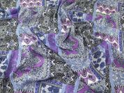 Patchwork Print Lightweight Soft Linen Look Dress Fabric  Blue, Purple & Grey