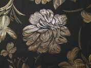 Floral Woven Metallic Brocade Dress Fabric  Black & Gold