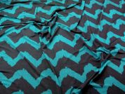 Zig Zag Print Stretch Jersey Dress Fabric  Black & Teal