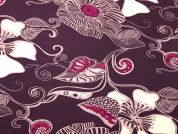 Floral Print Stretch Jersey Dress Fabric  Aubergine