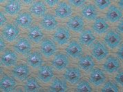 Metallic Brocade Fabric  Turquoise & Grey