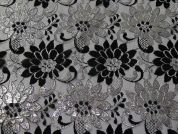 Metallic Floral Design Lace Dress Fabric  Black & Silver