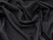 Pinstripe Wool Blend Flannel Coating Dress Fabric  Black