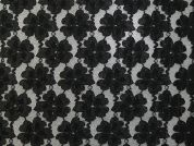 Floral Lace Fabric  Black