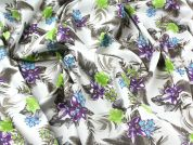 Floral Print Stretch Cotton Dress Fabric  Green & Purple