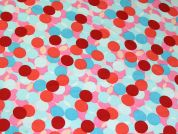 Layered Spots Print Silky Satin Dress Fabric  Pink & Turquoise