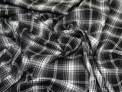 Plaid Stretch Suiting Fabric  Black & White
