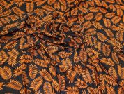 Leaves Viscose Challis Fabric  Black & Orange