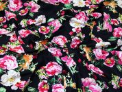 Floral Rayon Challis Fabric  Navy Blue