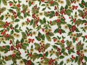 Christmas Holly Berry Print Cotton Fabric  Ivory