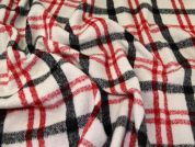 Wool Blend Coating Fabric  Red, Black & Cream