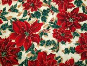 Christmas Poinsettia & Holly Print Cotton Fabric  Red, Green & Cream