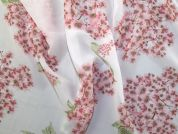 Printed Chiffon Fabric  Pink on Ivory